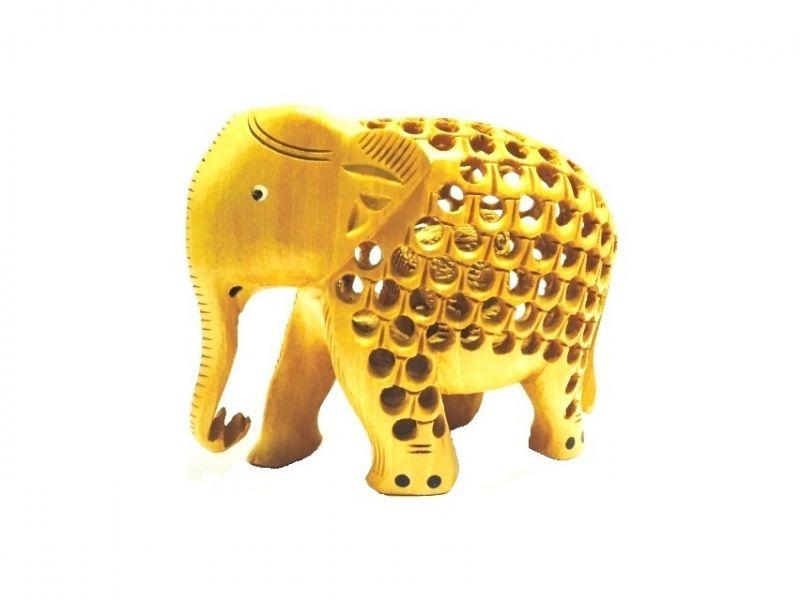 Buy Mariyam Wooden Jali Elephant Showpiece online