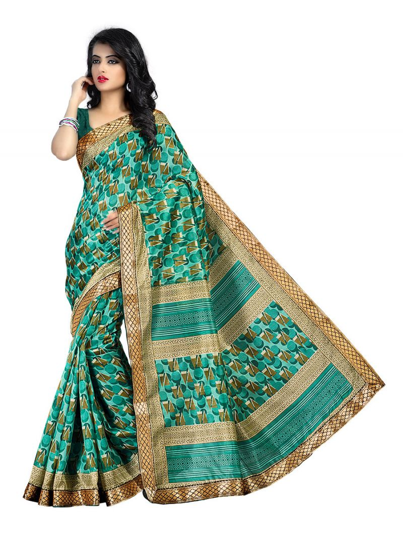 Buy Kotton Mantra Green Cotton Silk Lace Border Designer Saree With Blouse Piece (kmbb7001a) online