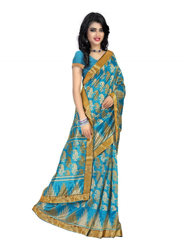 Buy Kotton Mantra Blue Cotton Silk Lace Border Designer Saree With Blouse Piece (kmbb7004a) online