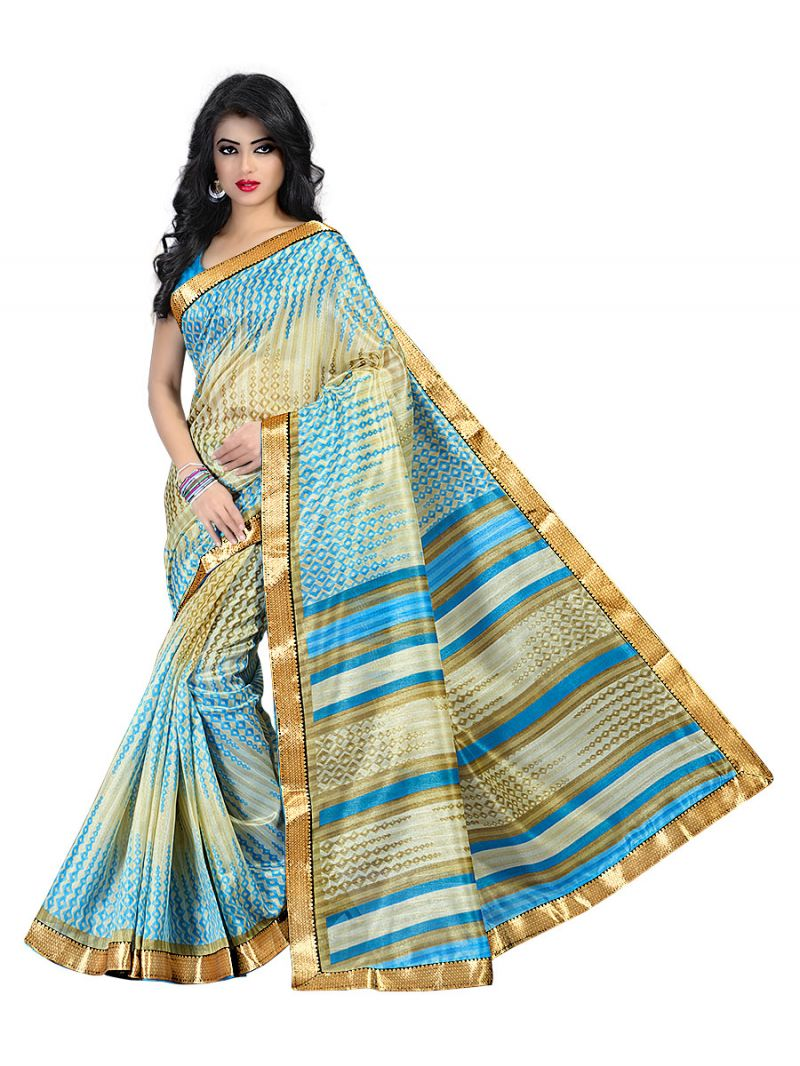 Buy Kotton Mantra Blue Cotton Silk Lace Border Designer Saree With Blouse Piece (kmbb7008b) online