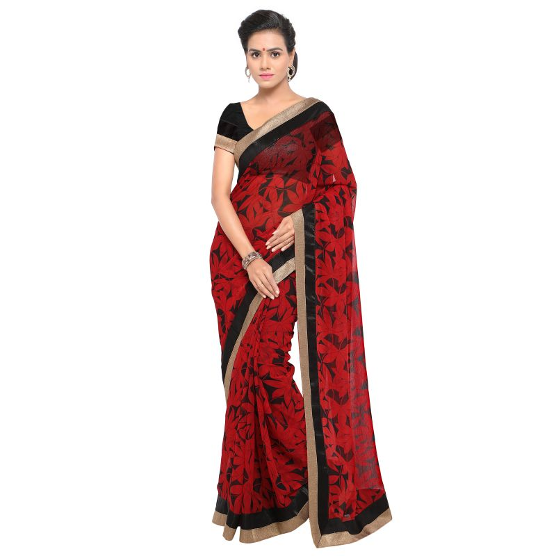 Buy Kotton Mantra Red Georgette Lace Designer Saree With Unstitched Blouse Piece online