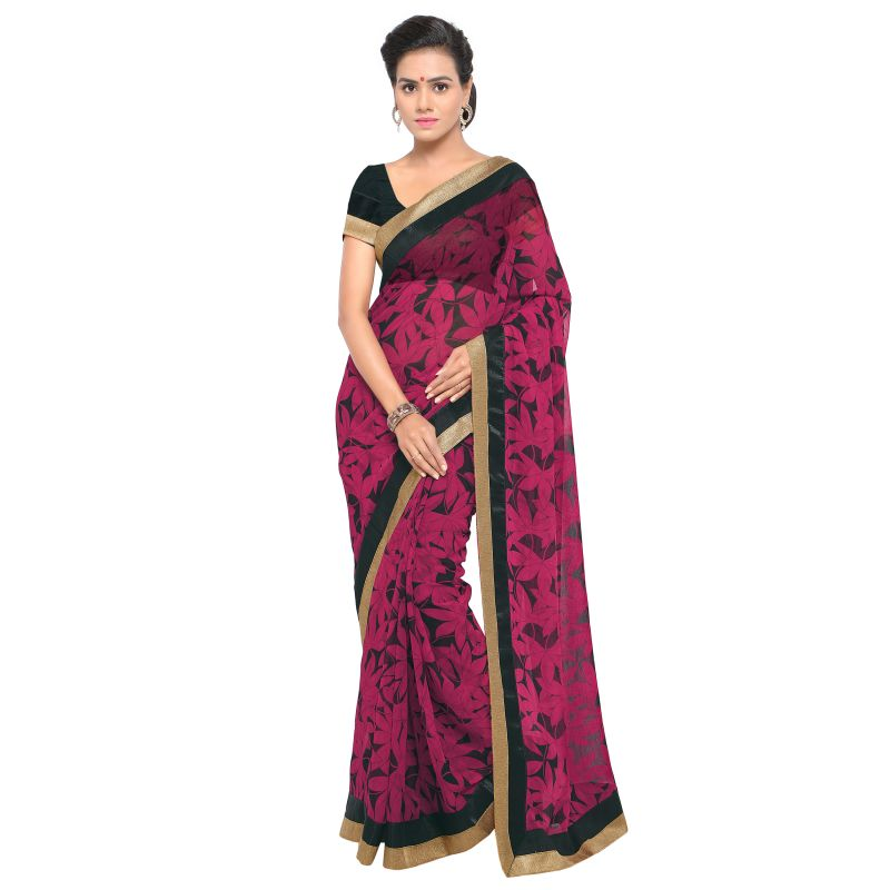 Buy Kotton Mantra Pink Georgette Lace Designer Saree With Unstitched Blouse Piece online