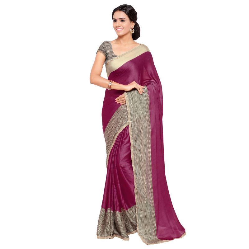 Buy Kotton Mantra Pink Satin Lace Border Designer & Party wear Saree With Blouse Piece online