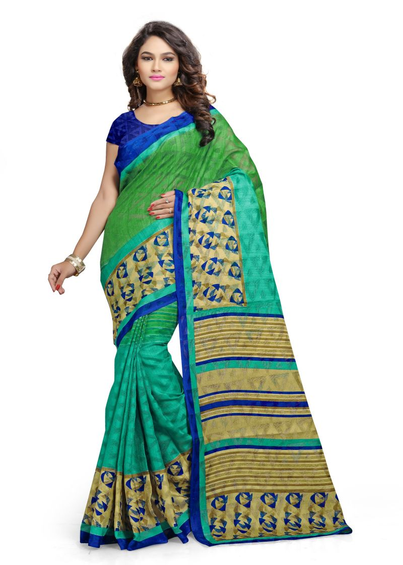 Buy Kotton Mantra Green Cotton Printed Party Wear Saree With Blouse Piece (kmscv4014) online