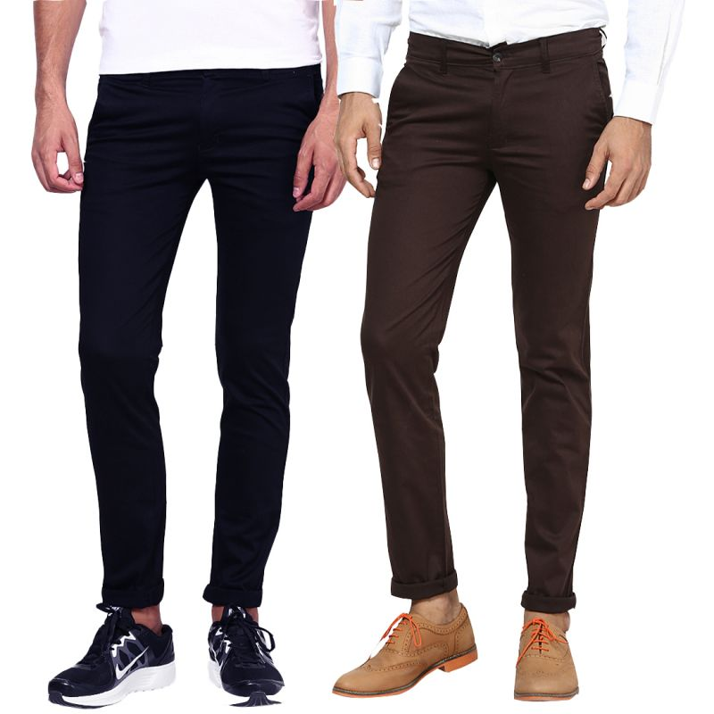 Buy Inspire Navy Blue & Brown Lycra Chinos Pack Of 2 online
