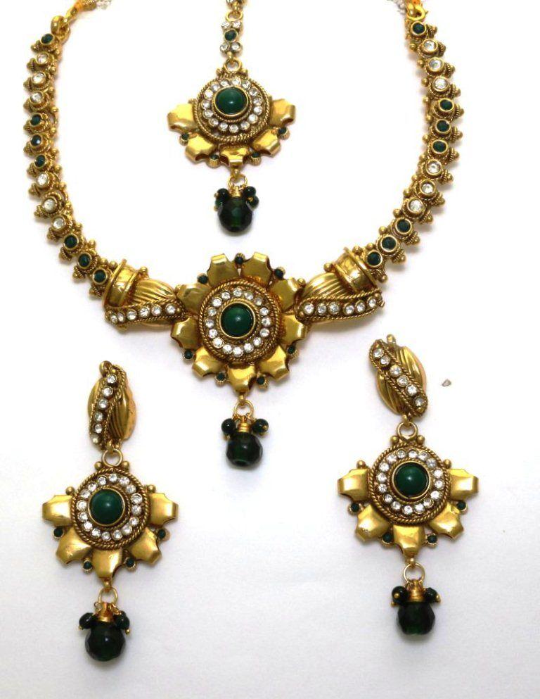 Buy LA TRENDZ Flower Shape Copper A D Stone Green Traditional Necklace Set online
