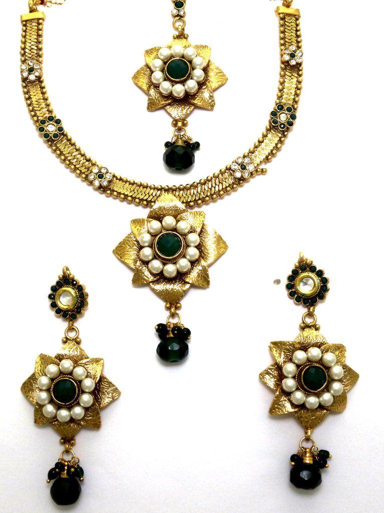 Buy LA TRENDZ Double Star Green Pearl Womensecklace Set online