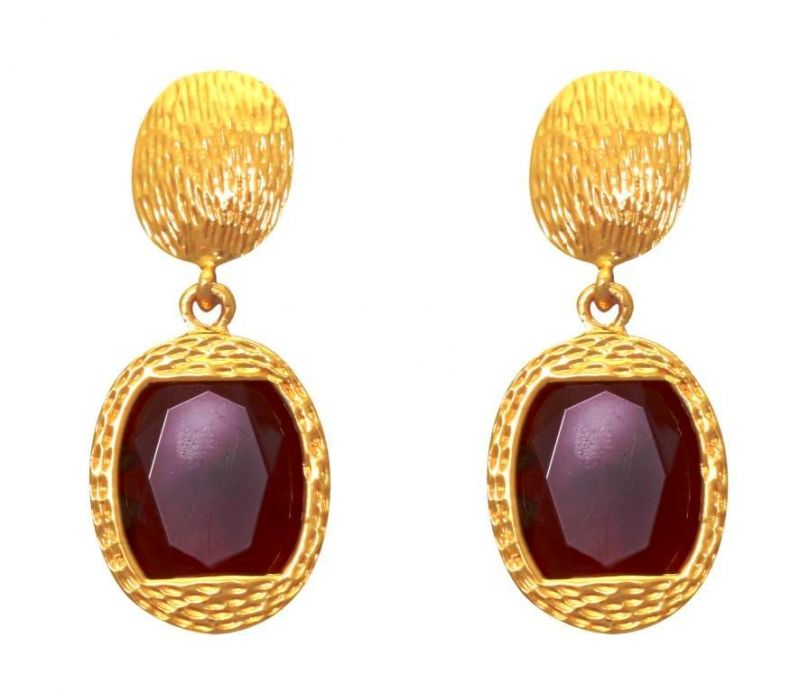 Buy LA TRENDZ  FASHION NEW CLASSIC RUBY STONE EARRINGS online