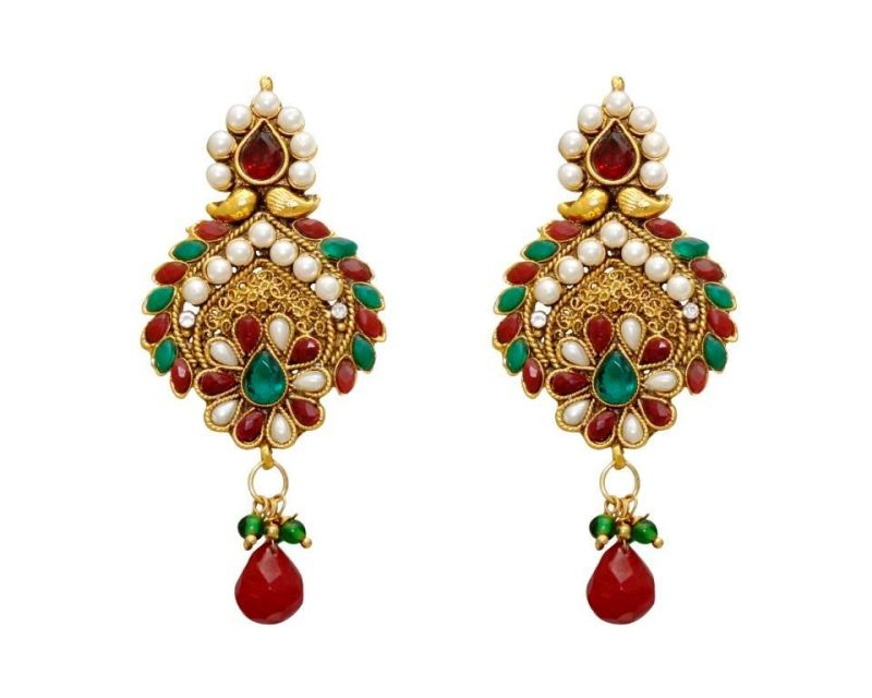 Buy LA TRENDZ  FASHION NEW TRADITIONAL RUBY GREEN CLASSIC DESIGN EARRINGS online
