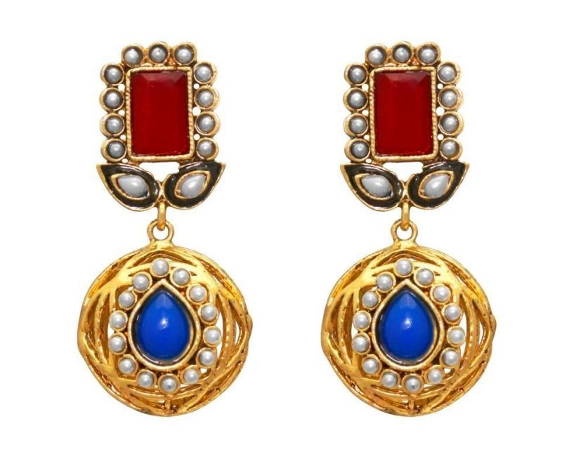 Buy LA TRENDZ  FASHION NEW JAIPUR POTA RUBY BLUE TRADITIONAL EARRRINGS online