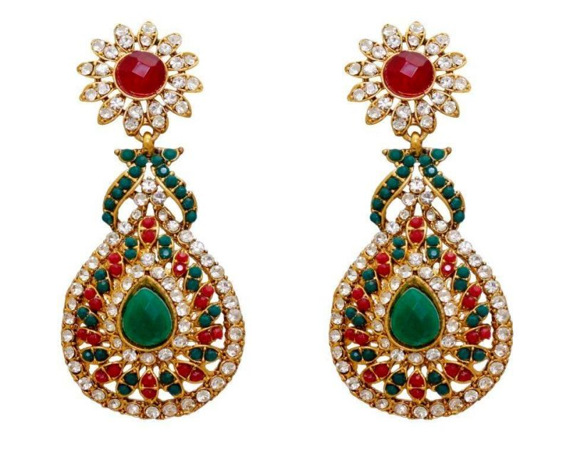 Buy LA TRENDZ  FASHION NEW RUBY GREEN DANGLE EARRINGS online