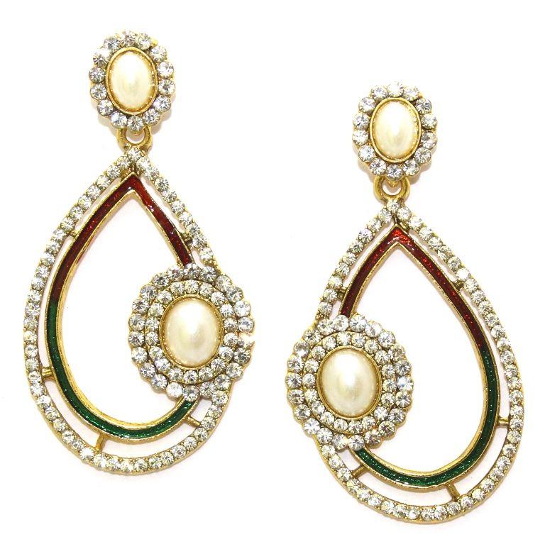 Buy La Trendz Golden Alloy Hanging Earrings(lt1075) online