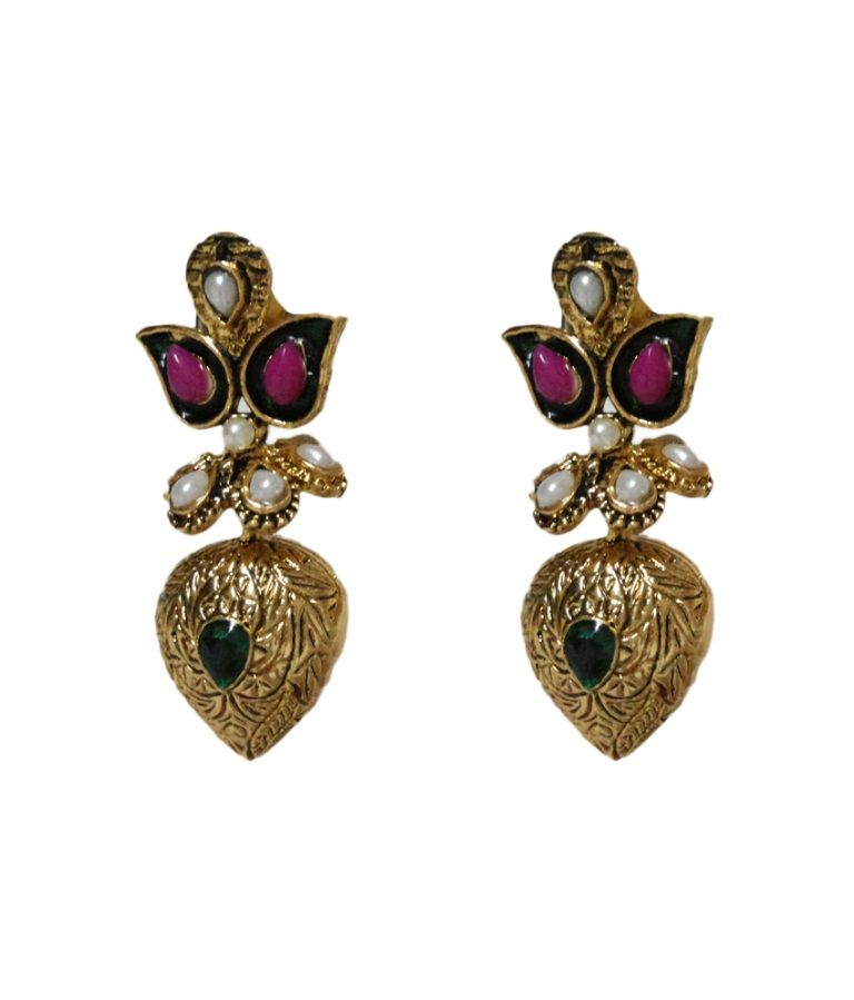 Buy La Trendz Antique Golden Earrings online