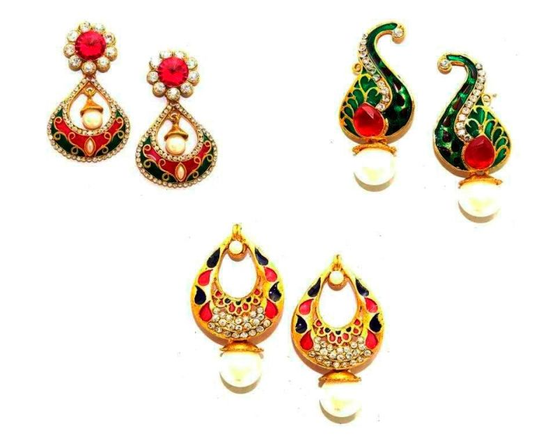 Buy La Trendz Dazzling Meena Earring Combo Set Of 3 online