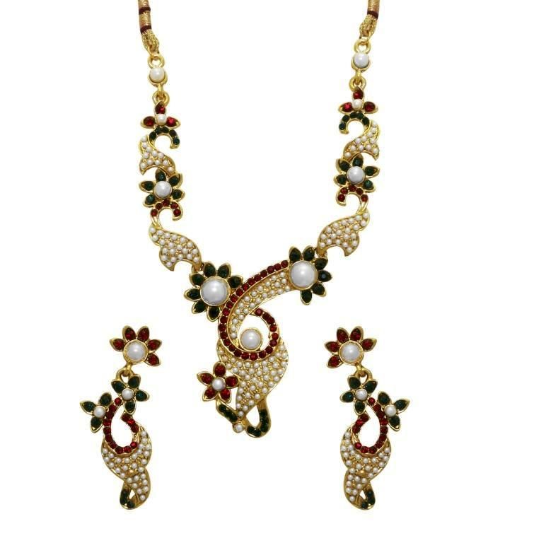 Buy LA TRENDZ  Gold Plated Pearl Necklace Set For Women online