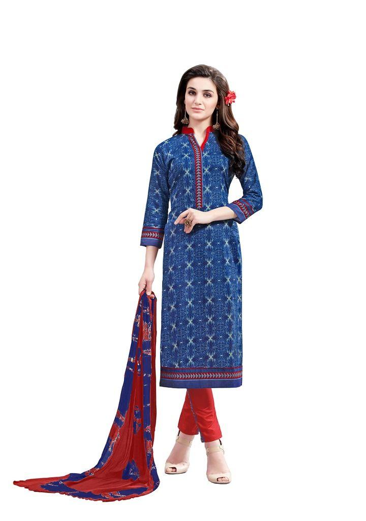 Buy Padmini Unstitched Printed Cotton Dress Material (product Code - Dtsjsuhana7001) online