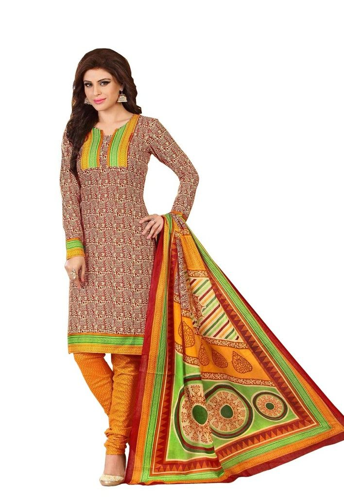 Buy Padmini Unstitched Printed Cotton Dress Material (product Code - Dtrfaaliya1020) online