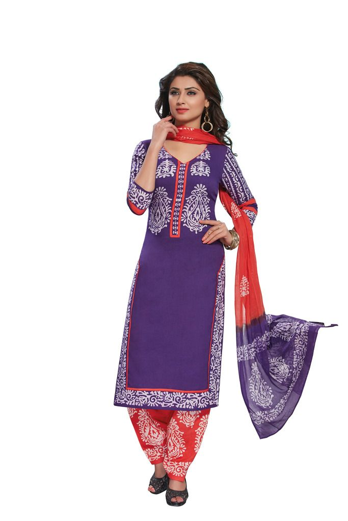 Buy Padmini Unstitched Printed Cotton Dress Material (product Code - Dtafbattik2753) online