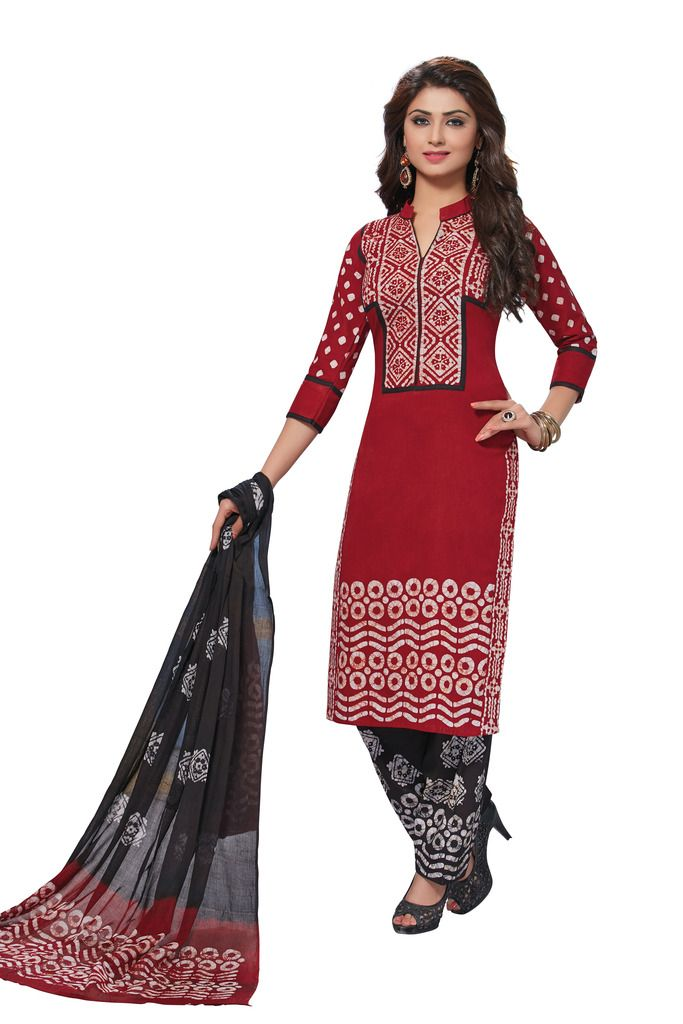 Buy Padmini Unstitched Printed Cotton Dress Material (product Code - Dtafbattik2756) online