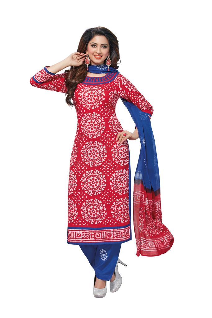 Buy Padmini Unstitched Printed Cotton Dress Material (product Code - Dtafbattik2759) online