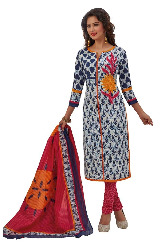 Buy Padmini Unstitched Printed Cotton Dress Materials Fabrics (product Code - Dtafrangresham3051) online