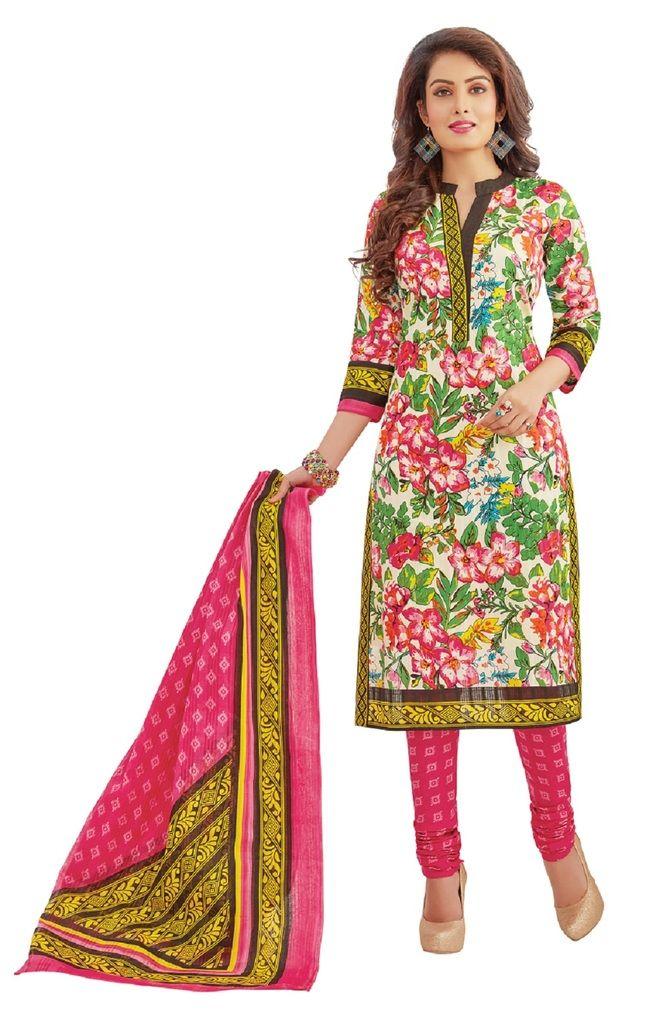 Buy Padmini Unstitched Printed Cotton Dress Materials Fabrics (product Code - Dtafrangresham3053) online