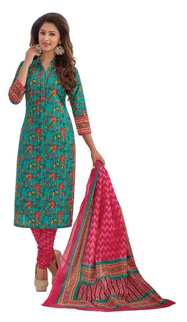 Buy Padmini Unstitched Printed Cotton Dress Materials Fabrics (product Code - Dtafrangresham3068) online