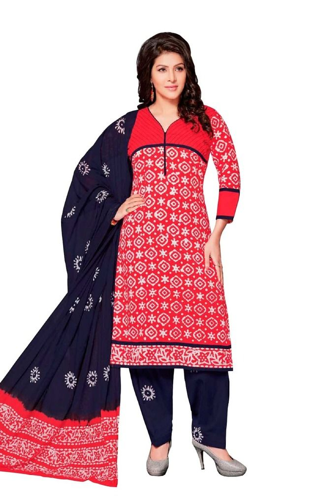 Buy Padmini Unstitched Printed Cotton Dress Material (product Code - Dtafbattik2401) online