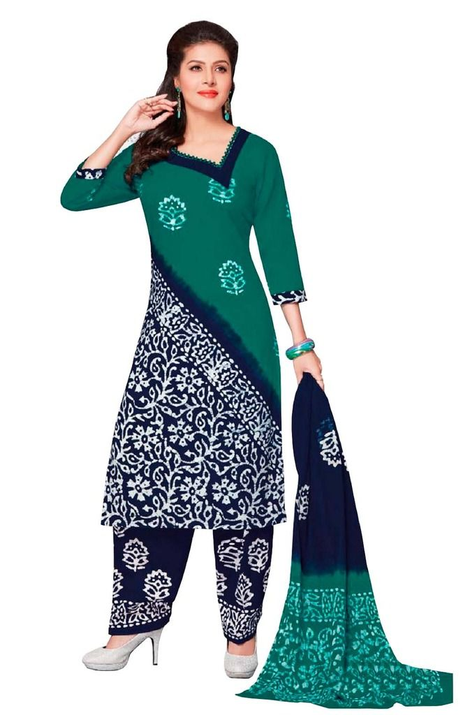 Buy Padmini Unstitched Printed Cotton Dress Material (product Code - Dtafbattik2402) online