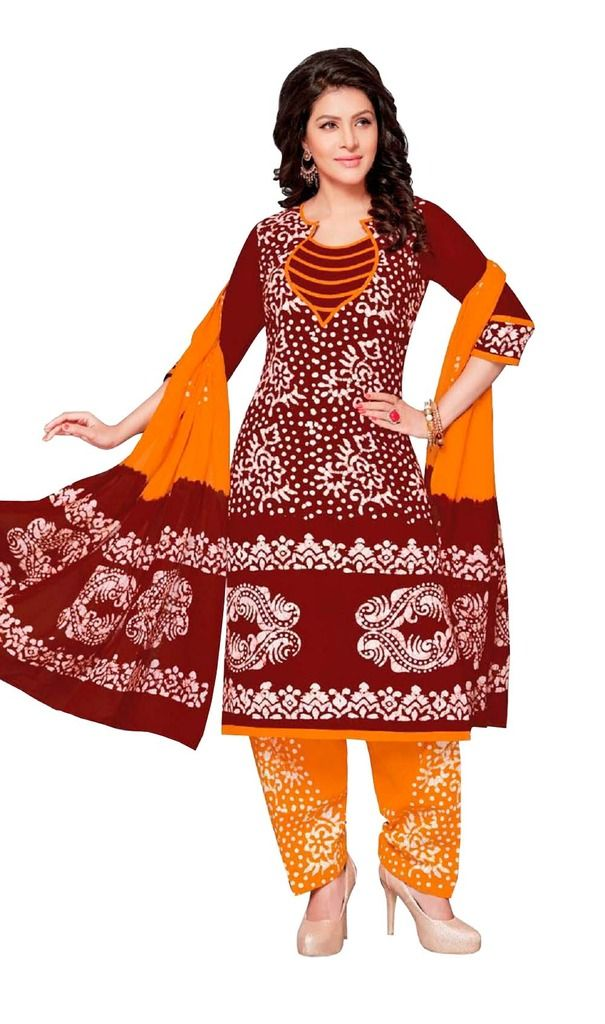 Buy Padmini Unstitched Printed Cotton Dress Material (product Code - Dtafbattik2407) online