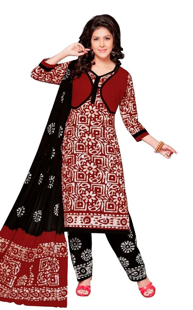 Buy Padmini Unstitched Printed Cotton Dress Material (product Code - Dtafbattik2409) online