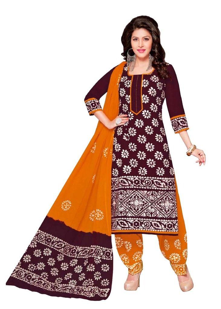 Buy Padmini Unstitched Printed Cotton Dress Material (product Code - Dtafbattik2413) online