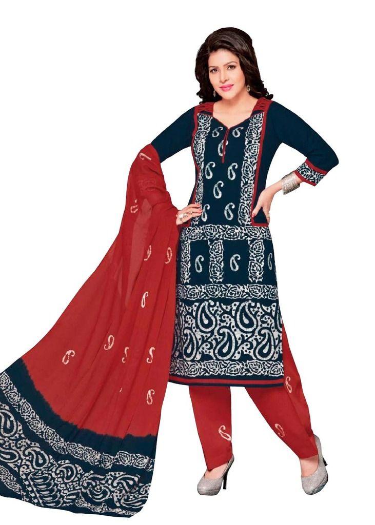 Buy Padmini Unstitched Printed Cotton Dress Material (product Code - Dtafbattik2415) online