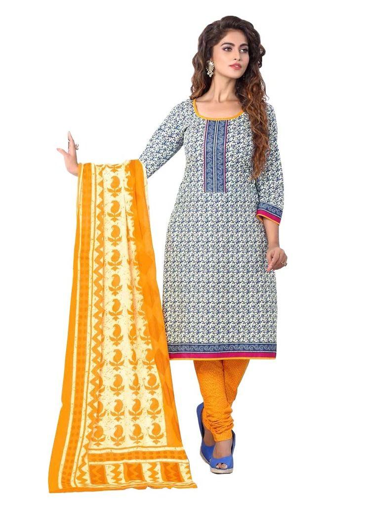 Buy Padmini Unstitched Printed Cotton Dress Materials Fabrics (product Code - Dthfdeepkala104) online