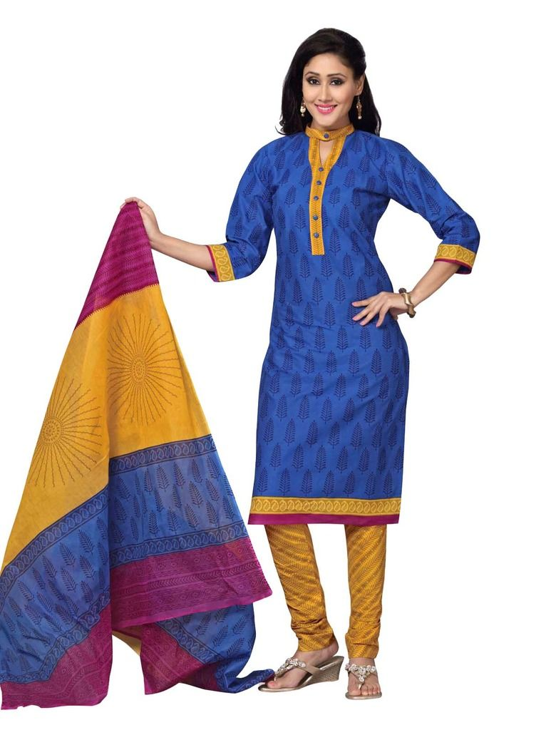 Buy Padmini Unstitched Printed Cotton Dress Material (product Code - Dtskmadhubala201) online