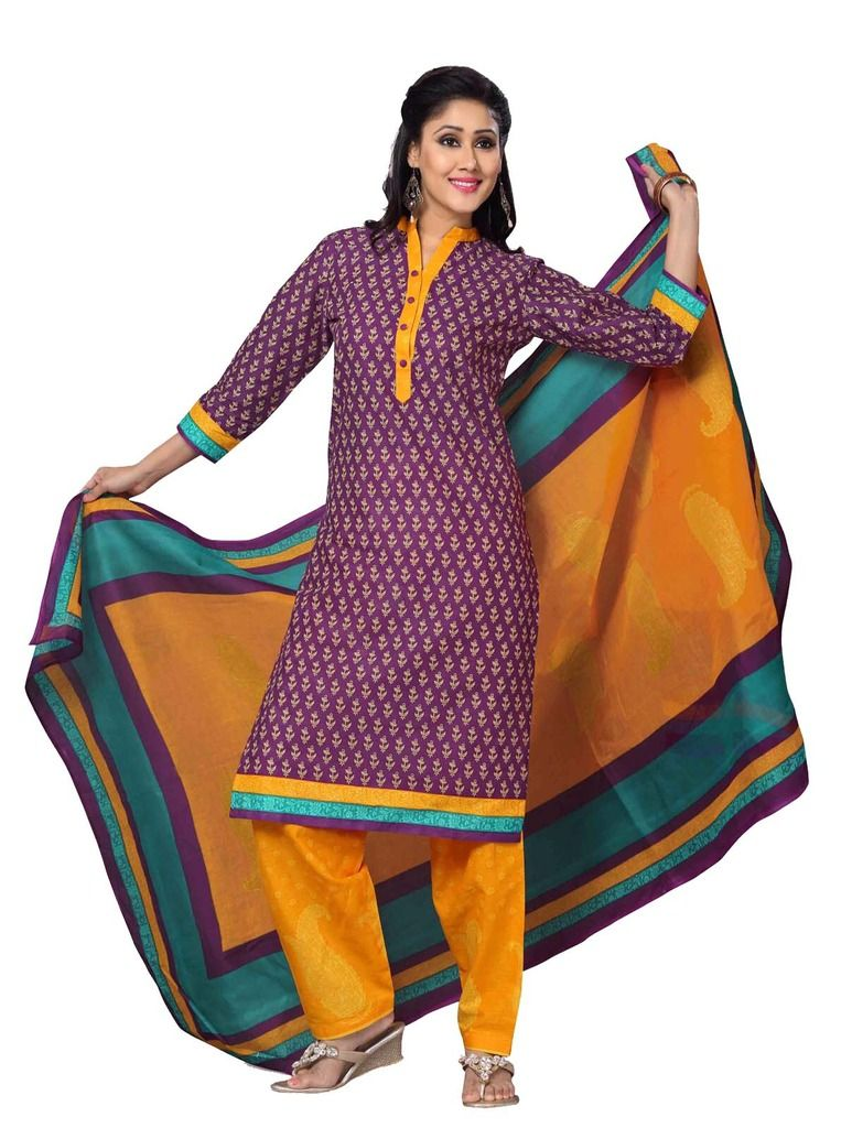 Buy Padmini Unstitched Printed Cotton Dress Material (product Code - Dtskmadhubala210) online