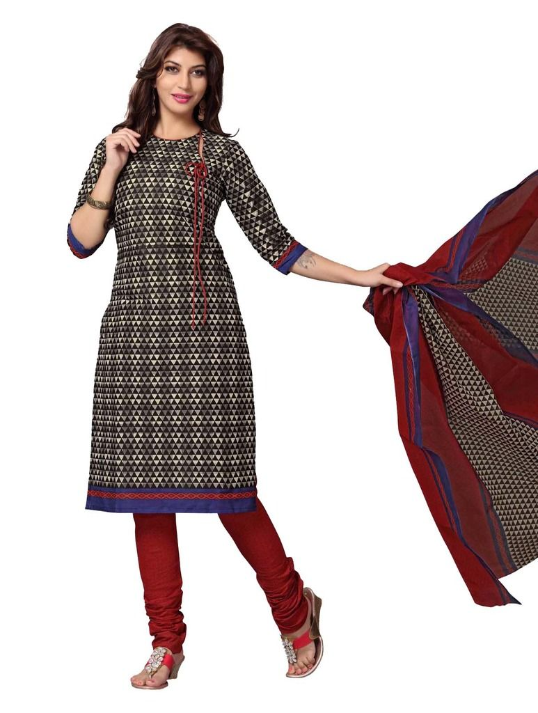 Buy Padmini Unstitched Printed Cotton Dress Material (product Code - Dtskcherry501) online