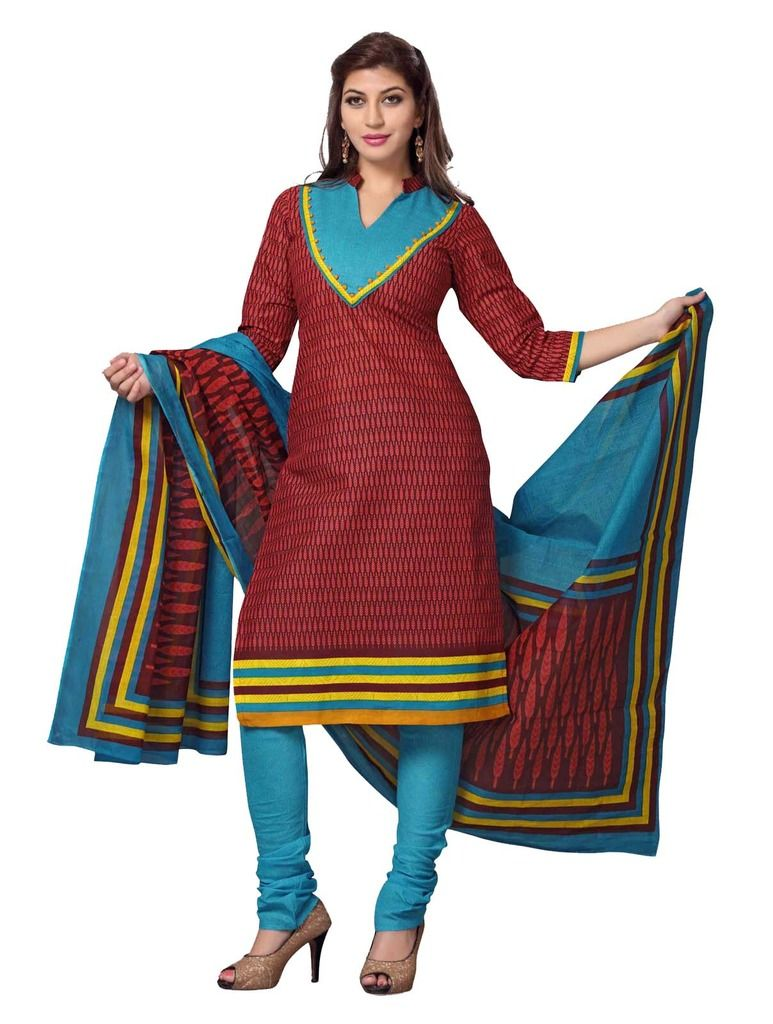 Buy Padmini Unstitched Printed Cotton Dress Material (product Code - Dtskcherry508) online
