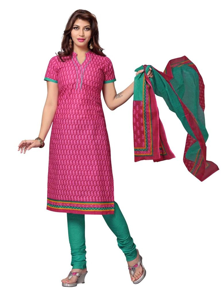Buy Padmini Unstitched Printed Cotton Dress Material (product Code - Dtskcherry509) online