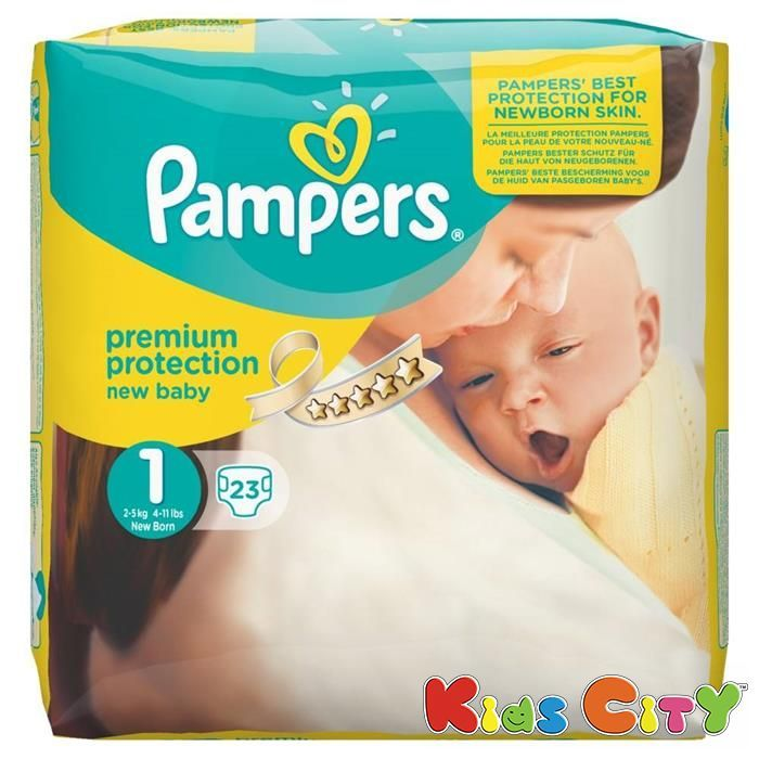 Buy Pampers New Baby Premium Protection Diapers (size 1) - New Born - 23 (2-5kg) online