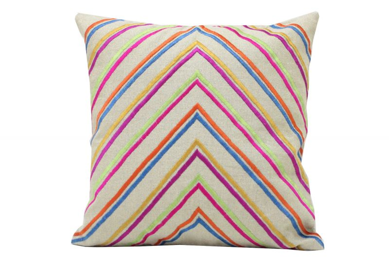 Buy Blueberry Home Linen Fabric Multicolor Color Cushion Cover (40x40 Cms) online