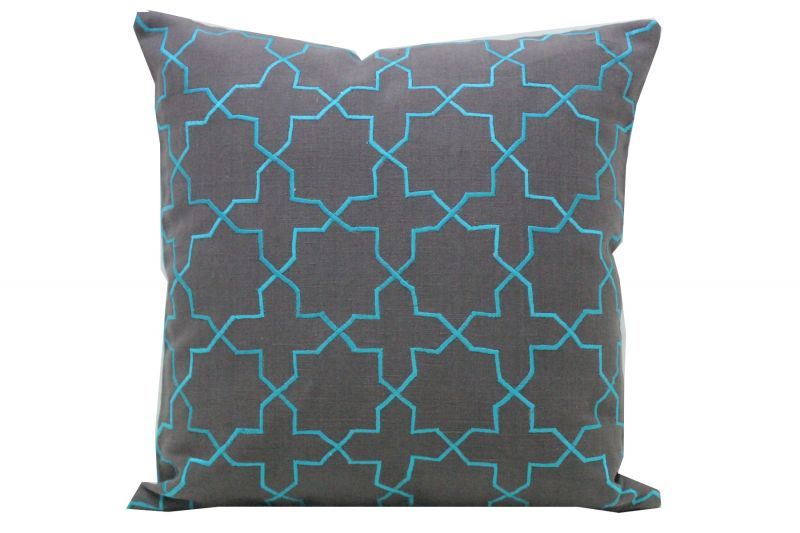 Buy Blueberry Home Cotton fabric Grey color Cushion cover online