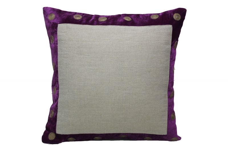 Buy Blueberry Home Linen fabric Purple color Cushion cover online