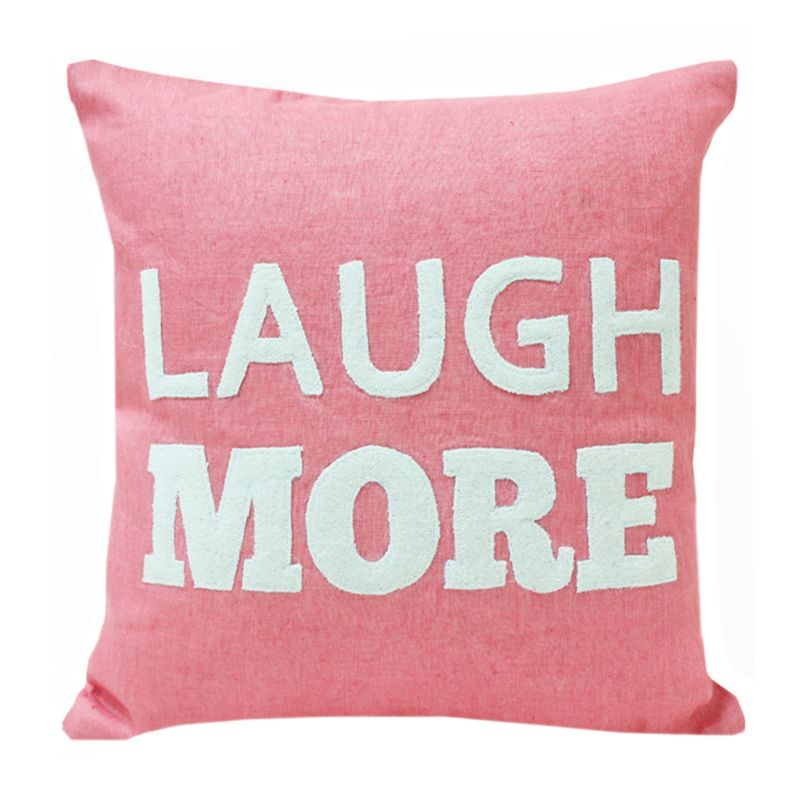 Buy Blueberry Home Linen Fabric Light Pink Color Cushion Cover (40x40 Cms) online