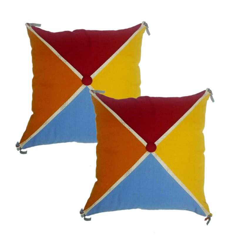 Buy Blueberry Home Multicolor Color Cotton Fabric Cushion Covers Set Of 02 (40x40 Cms) online