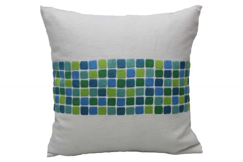 Buy Blueberry Home Linen Fabric Green Color Cushion Cover (40x40 Cms) online