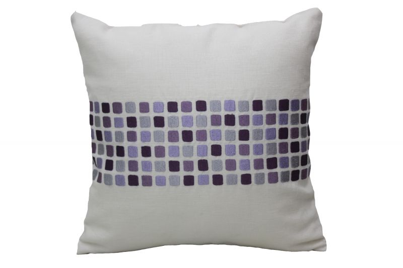 Buy Blueberry Home Linen Fabric Purple Color Cushion Cover (40x40 Cms) online