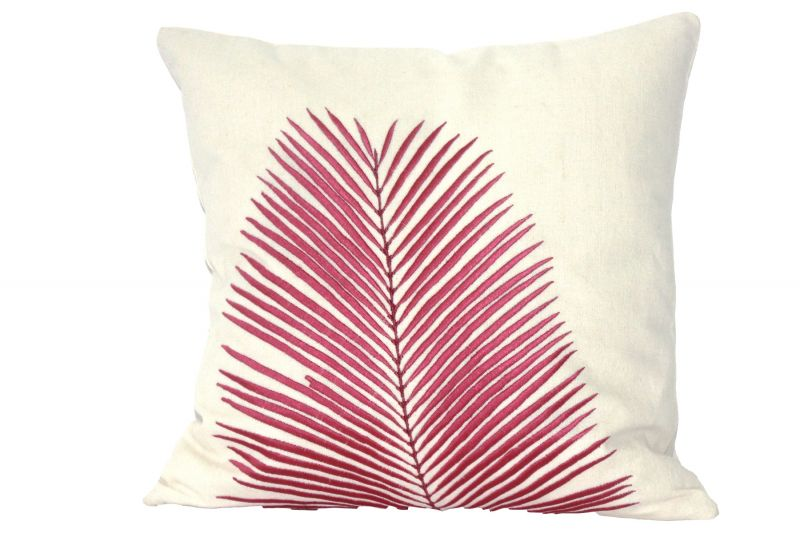 Buy Blueberry Home Cotton Fabric Pink Color Cushion Cover (40x40 Cms) online