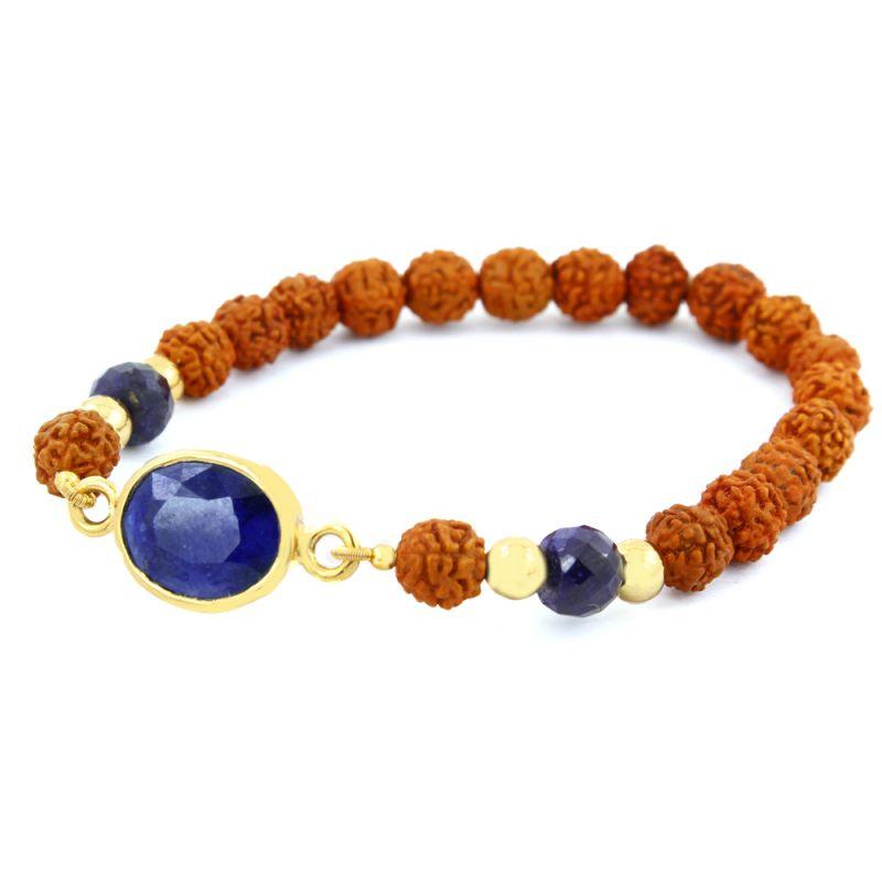 Buy Nirvanagems Genuine 5.25 Ratti Blue Sapphire & Rudraksha Beads Adjustable Bracelet online