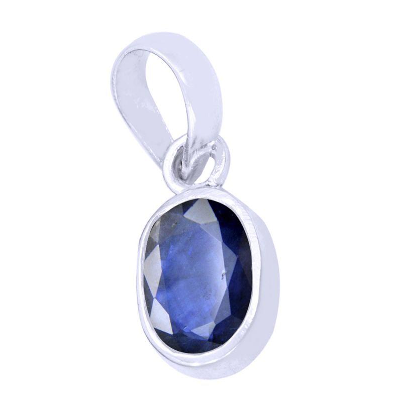 Buy Designer 3 Ct Certified Blue Sapphire Silver Pendant online